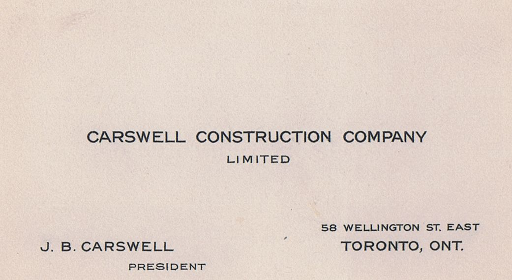 Business Card J B Carswell Construction Toronto