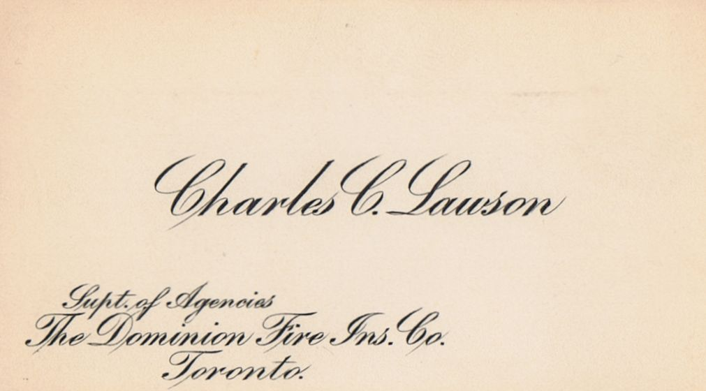 Business Card Charles C Lawson Dominion Fire Insurance Co. Toronto