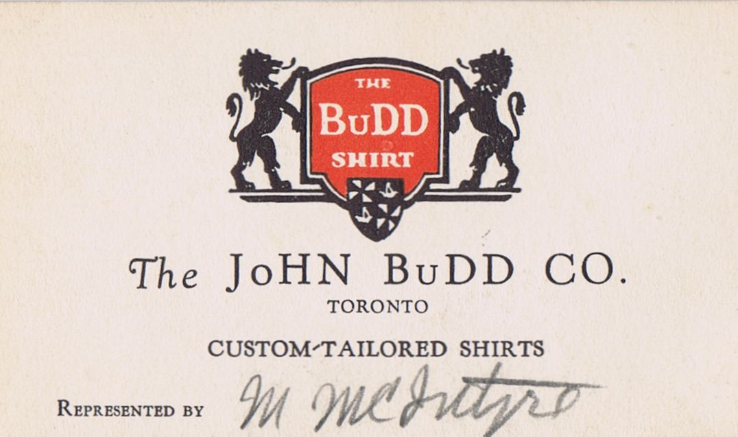 Business Card M McIntyre John Budd Co. Toronto