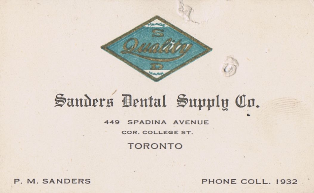 Business Card P M Sanders Dental Supply Co. Toronto