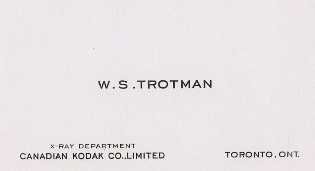 Business Card W S Trotman Canadian Kodak Co. Toronto