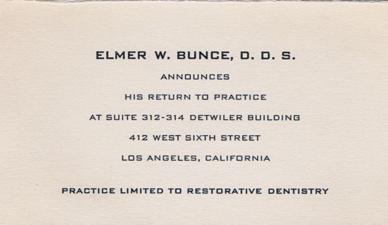 Business Card Dr. Elmer W Bunce Los Angeles California