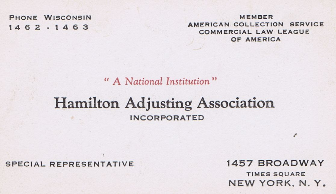 Business Card Hamilton Adjusting Association New York City