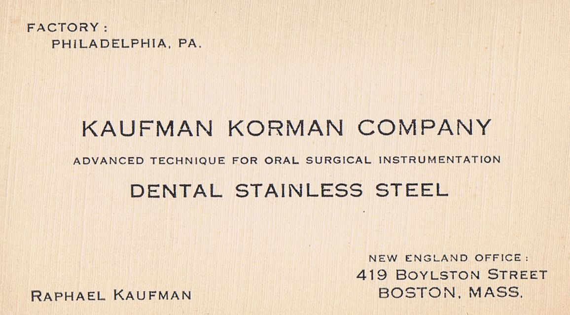 Business Card Raphael Kaufman Korman Company Boston Massachusetts