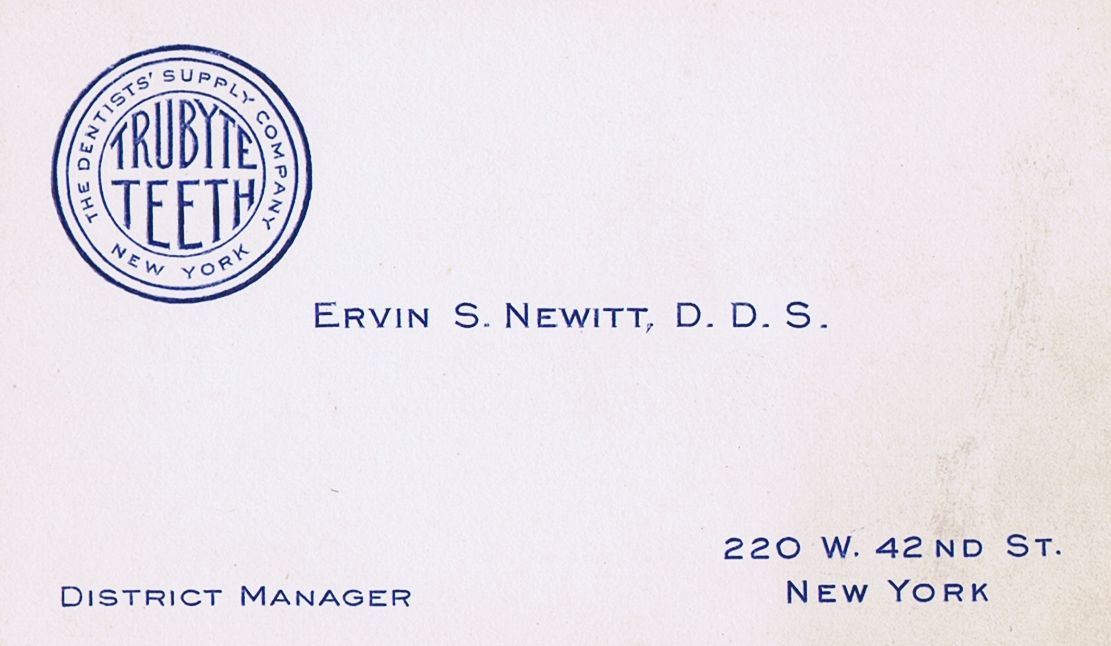 Business Card Dr. Ervin S Newitt Trubyte Teeth New York City